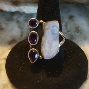 Amethyst, quartz and sterling silver ring